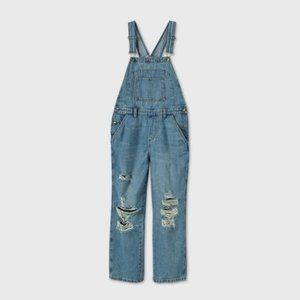 NWT - Oversized Distressed Overalls - Wild Fable Medium Wash